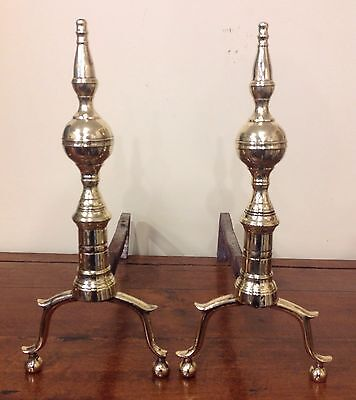 Antique 18/19th Century Brass Steeple Top Andirons