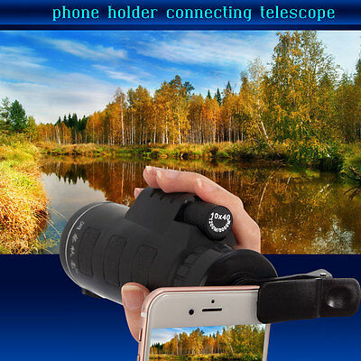 10x40 Hiking Concert Telescope Monocular Camera Lens with Clip for Cell Phone