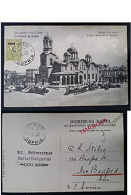 "SCARCE 1908 Bulgaria Postcard ""Salutations from Sophia"" ties 5K stamp to USA"