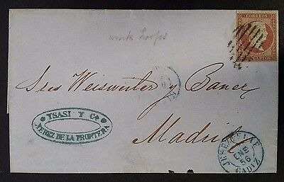 RARE 1856 Spain Folded Cover ties 4c rose Queen Isabella II stamp to Madrid
