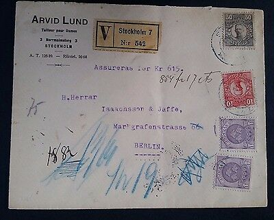 SCARCE 1915 Sweden Arvid Lund Regstd Cover ties 4 stamps cnc Stockholm to Berlin