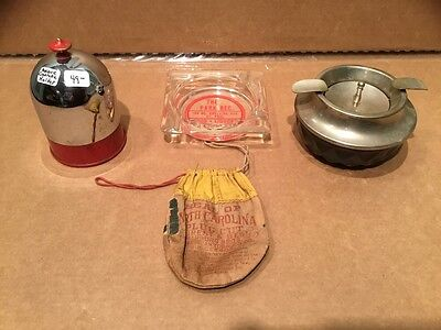 Collection Of 2 Ash Trays, One Cig Holder, One Plug Cut Bag, All Vintage - Rare!