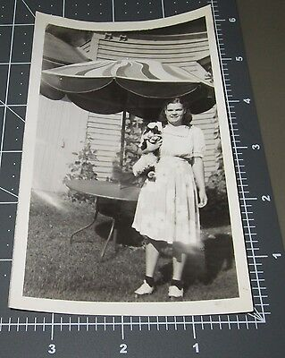 Chubby Girl SQUEEZES Cat Pet Kitten Child Vintage Snapshot PHOTO
