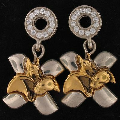 EARRINGS Sylvester Cat WARNER BROS LOONEY TUNES .88 tcw CZ Gold WB STORE 5106