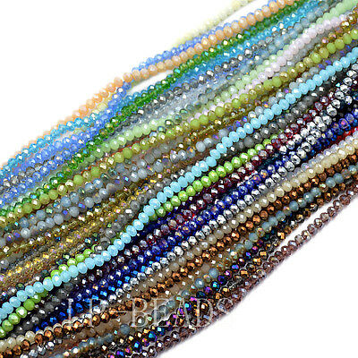3x4mm Czech Crystal Faceted Rondelle Glass Beads Bracelet Necklace Top Quality