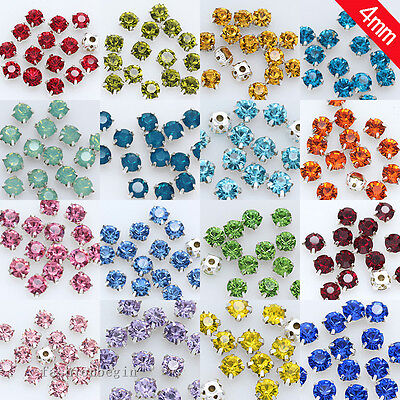 200p 4mm crystal Sew On glass cup Rhinestone Montees silver base Beads Craft Gem