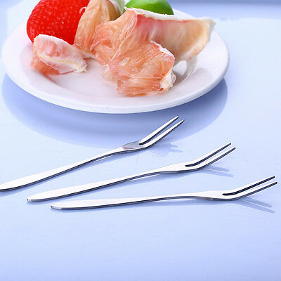5 Pcs 13cm Environmental Creative Small Fruit Fork Cake Foork Stainless Steel h