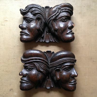 Two Pairs Of 17th Century Carved Oak Heads