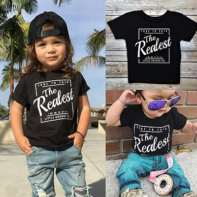 Casual Toddler Baby Boy Kid Tee T-Shirt Short Sleeve Cotton Graphic T Shirt Tops
