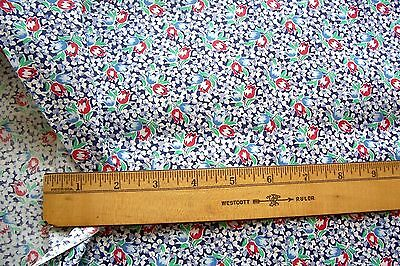 Vtg 40's 100% Cotton Dress Quilt  Applique Dolls Fabric 36w TULIPS