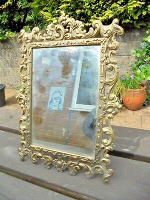Italian Made Reproduction Solid Brass  Dressing Table Mirror Easel Backed