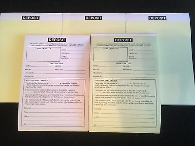 Johns Motorcare Supplies Used Car Purchase Invoice Pad For Buying /& Selling Cars