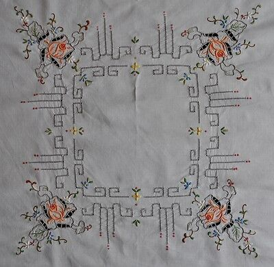 Vintage Hand Embroidered Tablecloth - Square