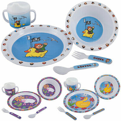 OUTDOOR Melamin Kindergeschirr Set 5tlg Camping Picknick Geschirr Kinder Besteck