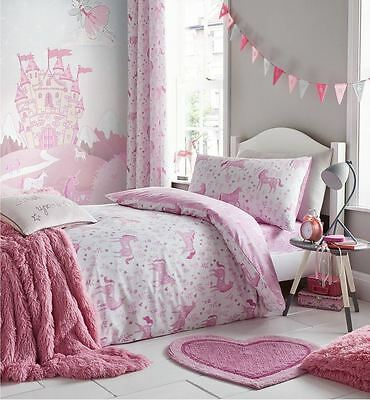 Catherine Lansfield Kid's Folk Unicorn Pink Magical Girly Bedding Duvet Set
