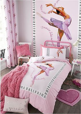 Catherine Lansfield Kid's Ballerina Pink Girls Cute Bedding Duvet Quilt Set