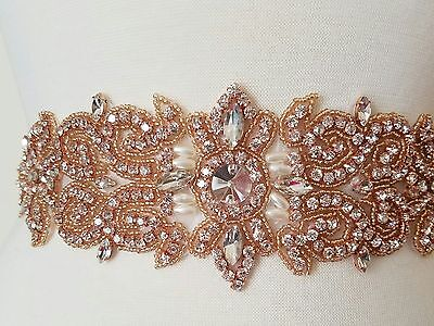 Wedding Dress Sash Belt - Rose Gold Crystal Pearl Sash Belt = 11 inch long