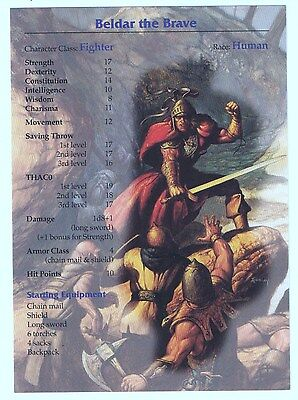 """Advanced Dungeon & Dragons Beldar the Brave Character Player Card 5"""" x 7"""""""