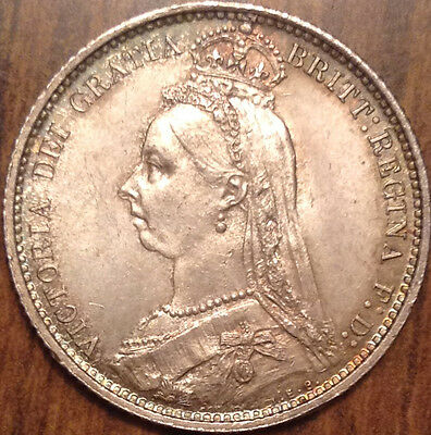 1887 Gb United Kingdom Sixpence In Remarkable Condition !