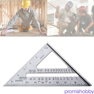 "7"" Metal Speed Square Protractor Miter Framing Measuring Ruler For Carpenter"