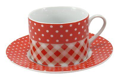 Coffee Tea Cup Mug with Saucer Porcelain Red White Checkered Polka Dot 4 fl oz 2