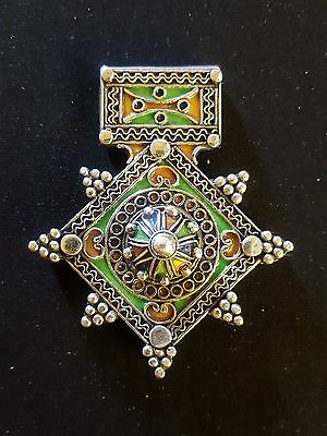 Morocco – Silver and enameled Berber Cross - BOGHDAD –