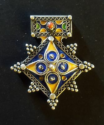 Morocco – Silver, coral and enameled Berber Cross - BOGHDAD –