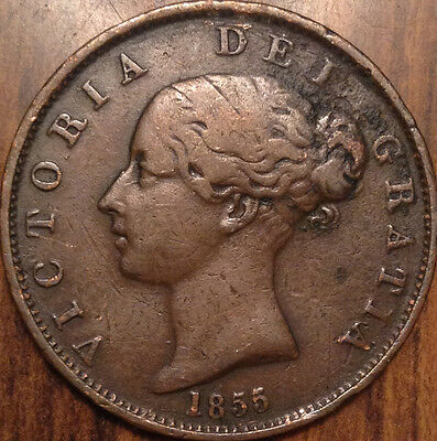 1855 Gb United Kingdom Half Penny