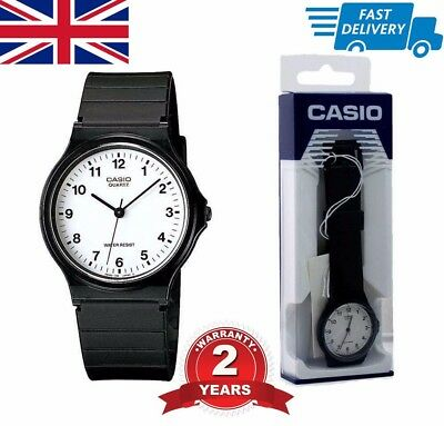 Casio Classic Mens Ladies Casual Style White Dial Black Wrist Watch MQ24-7BLL