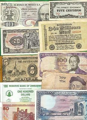 WORLD MIX  1944 - 2013 ~ 10 x PAPER MONEY LOT # 1304 (*-*) MIXED CONDITION