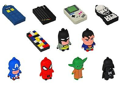 Character 2GB USB Flash Drives. Fun Funky Computer Storage Gift Idea for him her