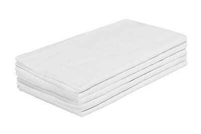 Pack of 5 White Luxury Soft for Newborn Baby, Muslin Squares, Cloth, Bibs Wipes