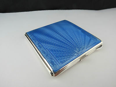 Art Deco Sterling Silver & Guilloche Enamel Powder Compact Hallmarked 1940