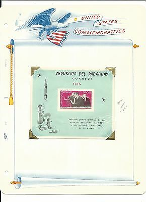 Paraguay, John F. Kennedy Collection on White Ace Pages, #887-894a Imperf (P2)