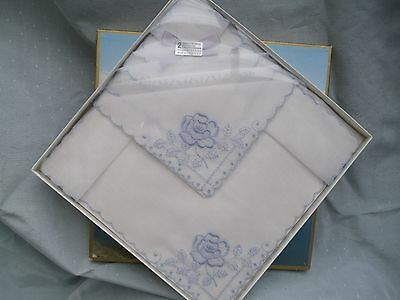 2 Vintage Swiss Embroidered Ladies Handkerchiefs