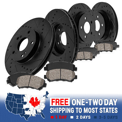 FRONT & REAR BLACK DRILLED SLOTTED BRAKE ROTORS And 8 CERAMIC PADS Jeep WJ