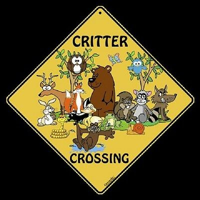 "CRITTER Crossing Sign, 12"" on sides, 16"" on diagonal, Indoor/Out-Aluminum"