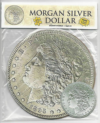 "MORGAN SILVER DOLLAR 72 Piece Round Jigsaw Coin Puzzle & 3"" Sticker ~ Ages 5+"