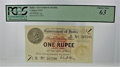 Rare Pcgs Graded 1 Rupee India - Government Of India Scwpm # 1 G Choice New 63