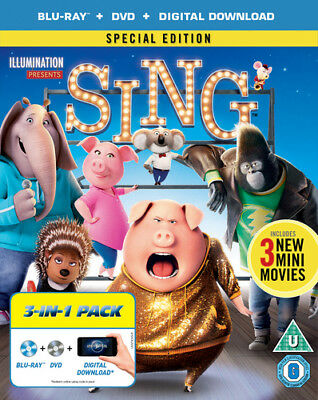 Sing Blu-Ray (2017) Garth Jennings cert U 2 discs ***NEW*** Fast and FREE P & P