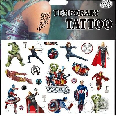 1x Avengers Temporary Tattoo Sheets Children Kids Birthday Party Bag Filler