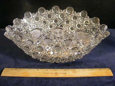 Stunning Antique American Brilliant Period Cut Glass Ovoid Center Bowl 12""