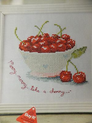Cherry Ripe Cherry Bowl Design Pattern/Chart in/for Counted Cross Stitch