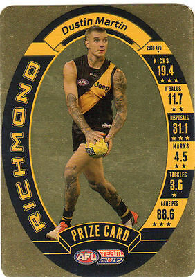 2017 Afl Teamcoach Team Coach Prize Card Richmond Tigers Dustin Martin Mint