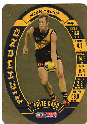 2017 Afl Teamcoach Team Coach Prize Card Richmond Tigers Jack Riewoldt Mint