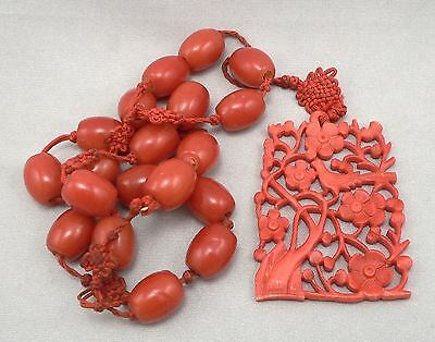 Vintage Carved Bone Bird Medallion Necklace Red Glass Beads Beaded Chinese China