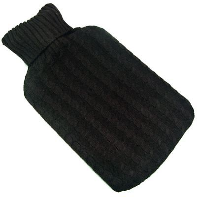 2 Litre Knitted Hot Water Bottle Cover Black with Gold Sparkles Chic Gift