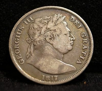 "1817 UK Sterling Georgius III Large Head Milled ""Bull Head"" Half Crown Coin"