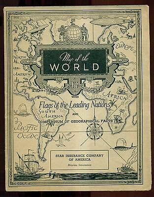 1930 Star Insurance Co. of America Map of the World w/Zeppelin Cover