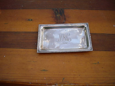 VICTORIAN Sterling Silver Small Letter/Card Tray INITIALS MMcC 1900